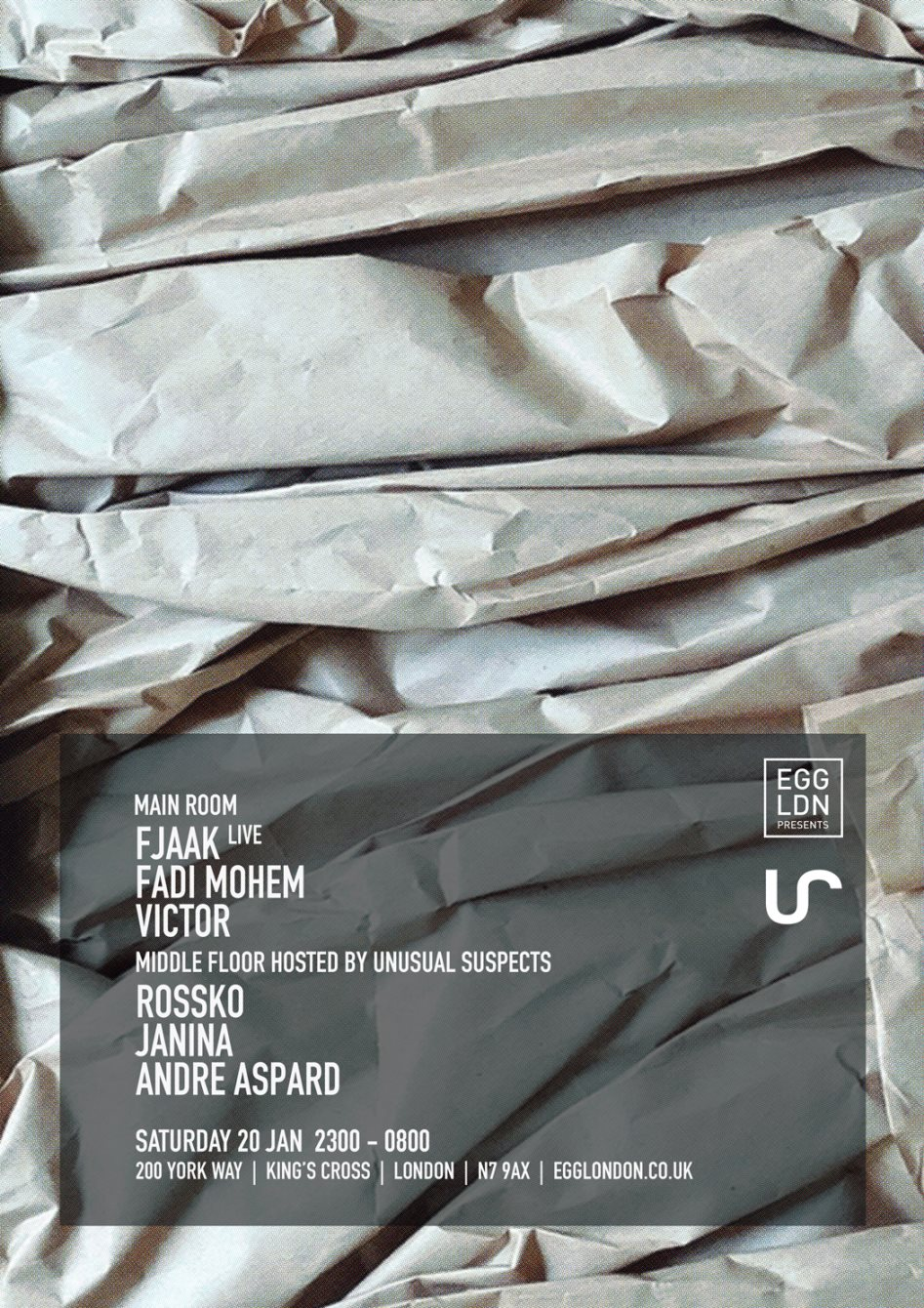 EGG LDN presents: Fjaak (Live), Fadi Mohem, Victor, US and More